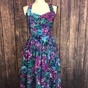 VINTAGE IMPRESSIONS floral print halter midi dress